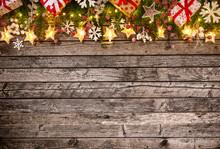"Постер, картина, фотообои ""Christmas decoration on wooden background"""