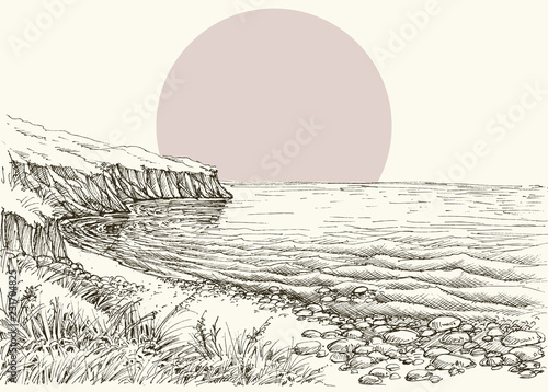 Sea, beach and cliff sketch - 231704825