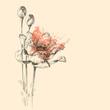 Roses vector sketch, beautiful artistic greeting card