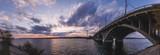 Vogres Bridge panorama over Voronezh river at dramatic sunset background