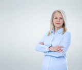 Business woman isolated on grey. Happy pretty women - 231706042