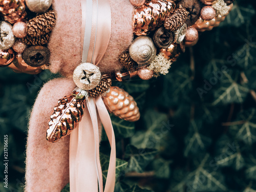 Leinwandbild Motiv Advent wreath for the pre Christmas time. DIY Christmas decoration. Home decor. DIY advent decoration.