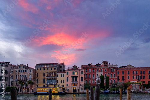 Pink sunset above Venice - 231708612