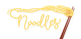 Chinese noodles at chopsticks. Fast-food meal. Noodle product.