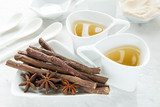 anise tea and liquorice roots on the table - 231713624