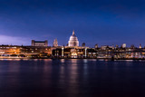 St Pauls Cathedral River Thames reflections on London city skyline at night - 231715265