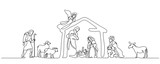 Continuous one line drawing. Bible Merry christmas scene of holy family. Vector illustration - 231715663