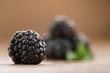Closeup ripe blackberries on wood background - 231716456