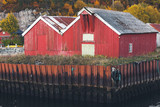 Traditional red wooden barns - 231718045