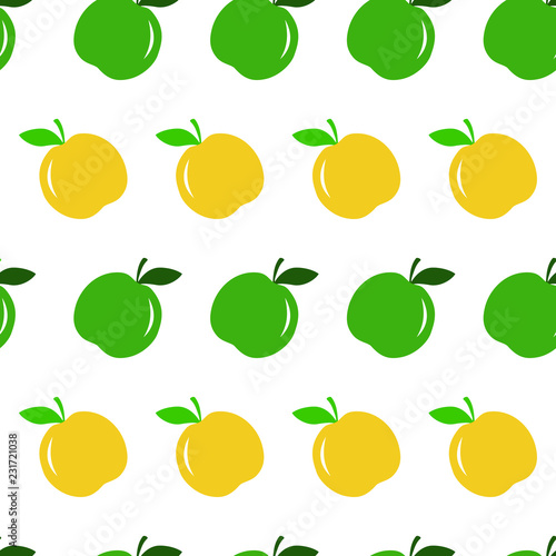 Vector seamless pattern with green and yellow apple. Eco food background. Can be used for restaurant or cafe menu, design banners, wrapping paper, print on clothes. EPS10. © Kateryna