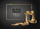 Black friday sale design template. Decorative black gift box with golden bow and long ribbon. Vector illustration - 231727635