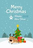 Santa deer sleeps under Christmas tree with gifts - 231729248