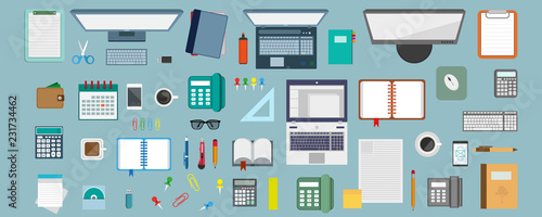 workplace concept, working place design in a flat style, workplace equipment, computer, laptop, phone, calculator, desktop accessories, stationery elements, work icons, vector graphics to design