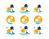 Set Vector Beautiful Sunset and Sunrise on the Waves of the Beach with palm trees and Flying Birds Sign Symbol Icon Traveling or Holiday Logo Flat Template Design Inspiration - 231737681