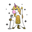 Vector illustration of fantasy animal horse unicorn singing in microphone . Flat style design