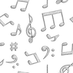 Music signs. Notes and symbols on white background. Seamless pattern © savanno