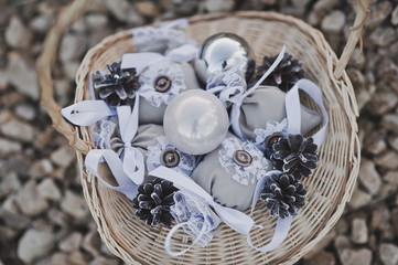 A basket of props for product photography 1776. © alenazamotaeva