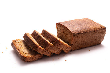 Whole Spelt Bread slices isolated on white background