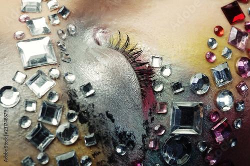 Leinwandbild Motiv Closeup of woman with artistic make-up