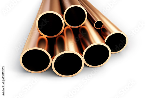 Copper metal pipe on a white background 3D illustration, 3D rendering - 231751203