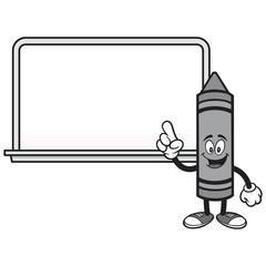 School Crayon with a Whiteboard - A vector cartoon illustration of a School Crayon with a Whiteboard.