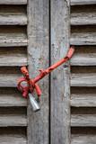 locked wooden louvre door - 231753011