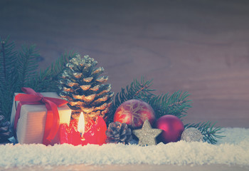 Advent candle and Christmas decoration. Christmas card.