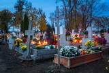 Colorful candles on the cemetery at All Saints Day, Poland - 231760242