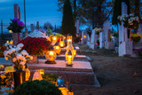 Colorful candles on the cemetery at All Saints Day, Poland - 231761488