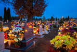 Colorful candles on the cemetery at All Saints Day, Poland - 231761659