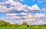 Vibrant wide angle view of a summer countryside landscape and blue cloudy sky - 231762021