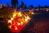 Colorful candles on the cemetery at All Saints Day, Poland - 231764487