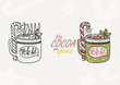 Hot cocoa with spices. Illustration in two version - path and colorful. Hot winter beverage