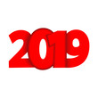 Inscription 2019 for new year composition red color. Text vector design