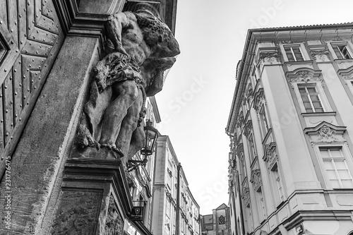 Leinwanddruck Bild PRAGUE, CZECH REPUBLIC - OCTOBER 21, 2018: Statues and sculptural ensembles in old Prague.