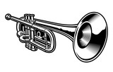 Vector illustration of black and white trumpet.