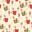 Winter holidays hot drinks and candies. Vector seamless pattern.