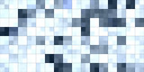 Light Gray Blue Tiling Colored Squares. Colorful mosaic texture. Bright filling geometric backdrop. Seamless Backgrounds. - 231785048