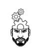 kopf gesicht mann klug arbeiter mechanisch denken gehirn intelligent ingenieur zahnrad mechaniker rad rund design logo