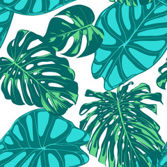 Seamless Vector Tropical Pattern. Monstera Palm Leaves and Alocasia. Jungle Foliage with Watercolor Effect. Exotic Hawaiian Textile Design. Seamless Tropical Background for Fabric, Dress, Paper, Print © ingara