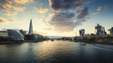 time lapse of sunset, London skyline from the Tower Bridge, UK - 231790008