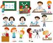 Set of children learning