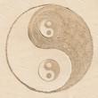 Leinwanddruck Bild - symbole yin yang sur le sable