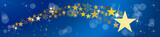 Christmas vector header. Comet and stars, with blurry light. Blue background - 231820811