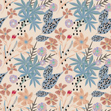 Seamless tropical pattern . Palm leaves, flowers on a beige background. - 231827809