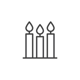 Burning candles outline icon. linear style sign for mobile concept and web design. Candlelight line vector icon. Symbol, logo illustration. Pixel perfect vector graphics - 231836465