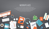 Workplace Desktop background. Top view of black table, monitor, folder, documents, notepad, books, purse, calendar, headphones, calculator, passport, crumpled paper. Place for text. Vector Top view - 231837871