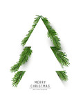 Christmas concept. Flat arrangement of fir branches in the shape of a christmas tree. Vector illustration. - 231838031