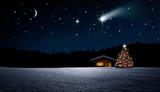 Weihnachtbaum im Nächtlichen Winterwald