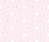 Geometric repeating pink ornament with hexagonal dotted elements. Geometric modern ornament. Seamless abstract modern pattern - 231843486
